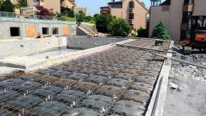 pool deck slab filling